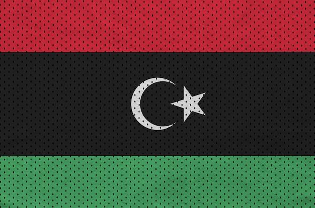 Bandera de libia impresa en una tela de malla de nylon y poliéster
