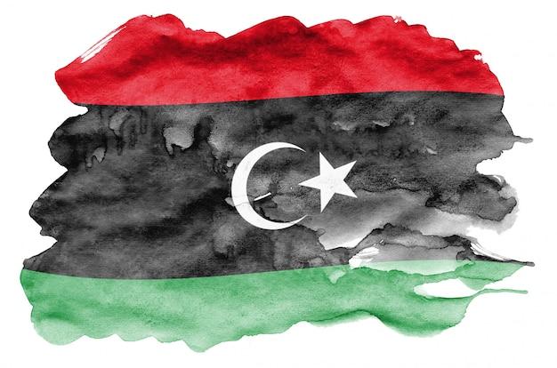 La bandera de libia se representa en estilo acuarela líquida aislado en blanco