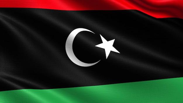 Bandera de libia, con textura de tejido ondulado.