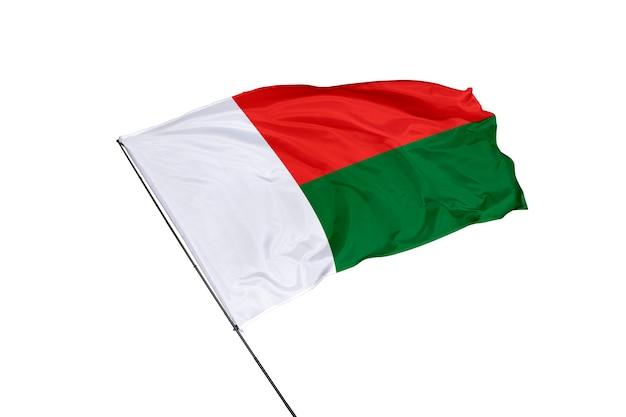 Bandera de madagascar sobre un fondo blanco.