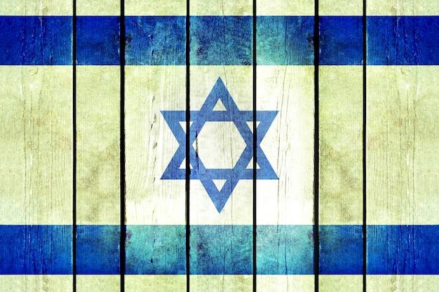 Bandera de madera de grunge de israel.