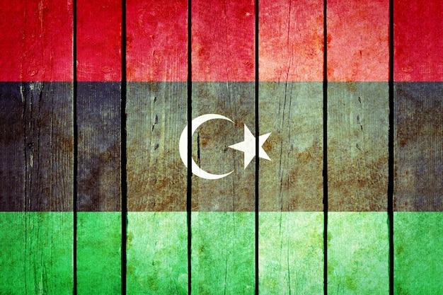 Bandera de madera de grunge de libia.