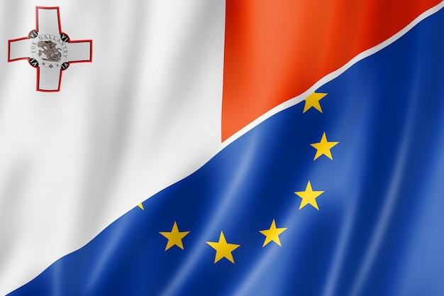 Bandera de malta y europa