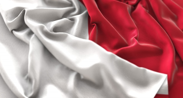 Bandera de malta ruffled bellamente agitando macro foto de primer plano