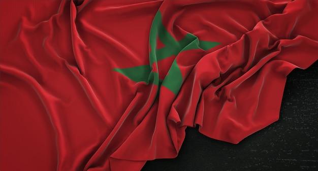 Bandera de marruecos arrugado sobre fondo oscuro 3d render