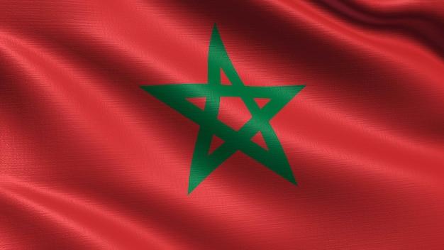 Bandera de marruecos, con textura de tela ondeando.