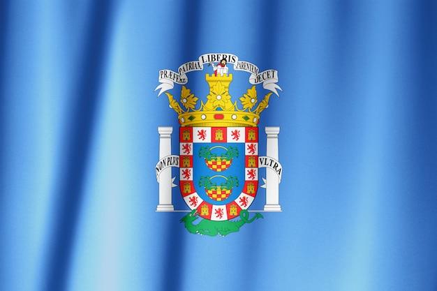 Bandera de melilla tela de tela textil ondeando en la parte superior