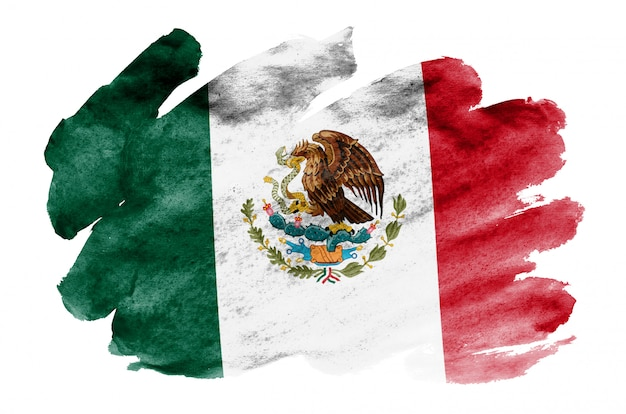 La bandera de méxico se representa en estilo acuarela líquida aislado en blanco