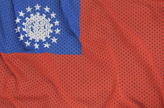 Bandera de myanmar impresa en una malla de nylon y poliéster