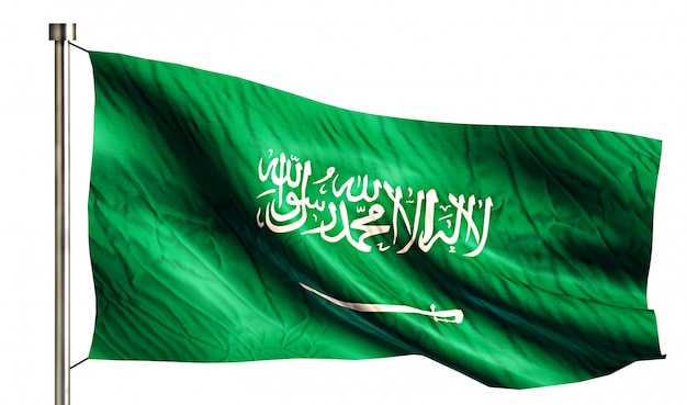 Bandera nacional de arabia saudita aislado fondo blanco 3d