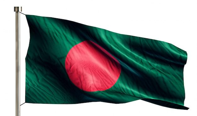 Bandera nacional de bangladesh aislado fondo blanco 3d