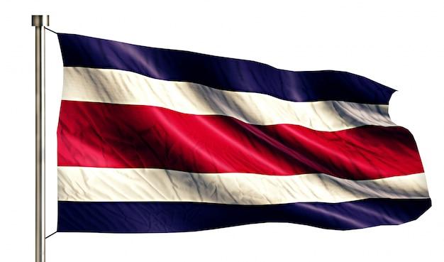 Bandera nacional de costa rica aislado fondo blanco 3d