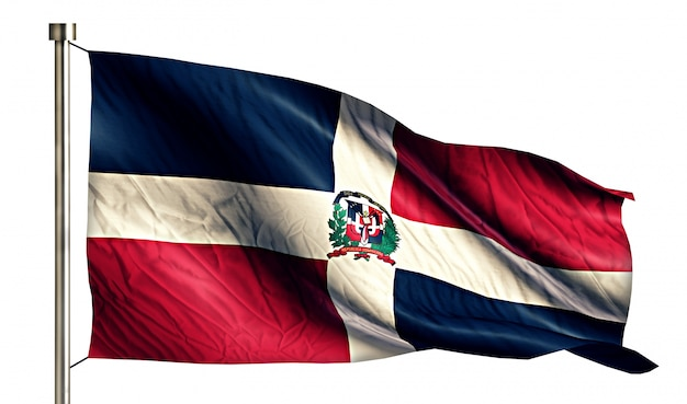 Bandera nacional dominicana aislado fondo blanco 3d
