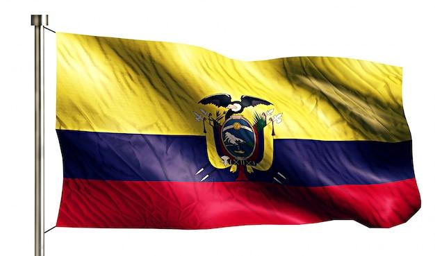 Bandera nacional de ecuador aislado fondo blanco 3d
