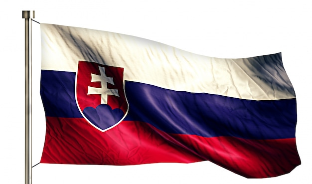 Bandera nacional de eslovaquia aislado fondo blanco 3d