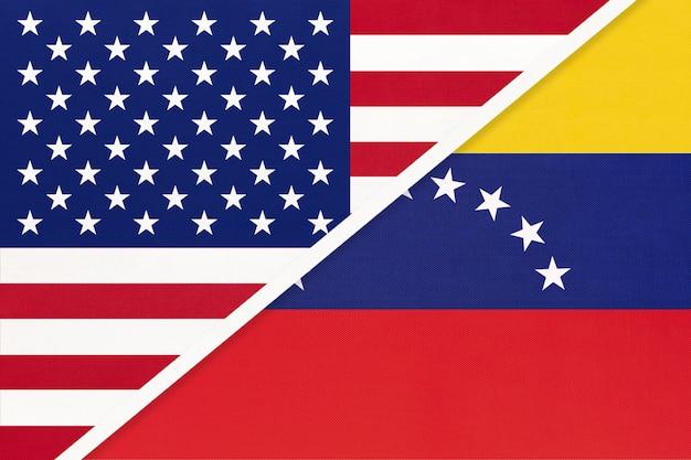 Bandera nacional de estados unidos vs venezuela. relación entre dos países.