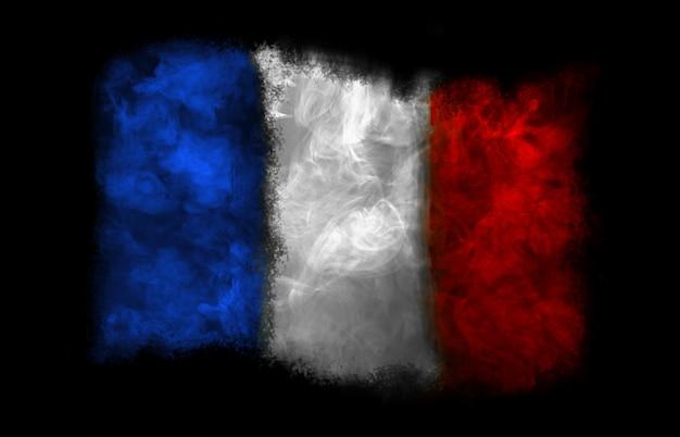 Bandera nacional de francia con humo de colores