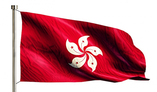Bandera nacional de hong kong aislado fondo blanco 3d