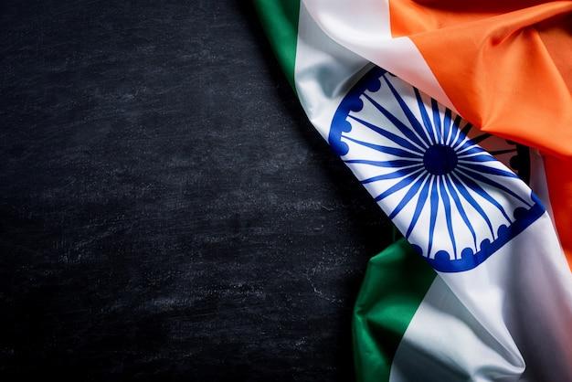 La bandera nacional de la india en pizarra