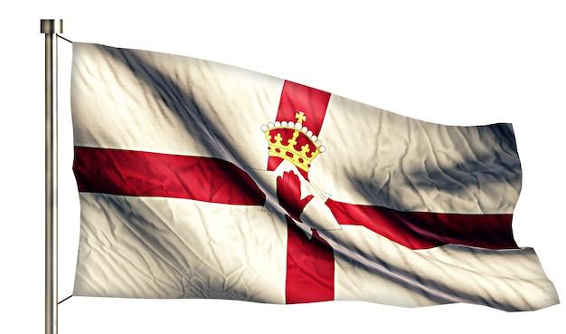 Bandera nacional de irlanda del norte aislado fondo blanco 3d