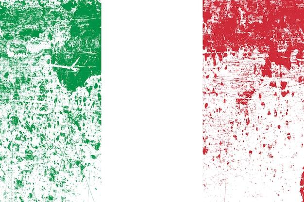 Bandera nacional de italia con textura. plantilla para el diseño