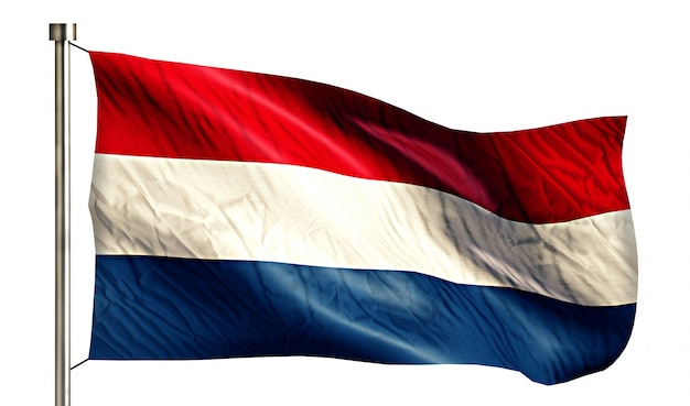 Bandera nacional de los países bajos aislado fondo blanco 3d