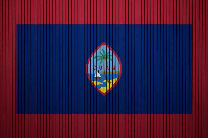 Bandera nacional pintada de guam en un muro de hormigón