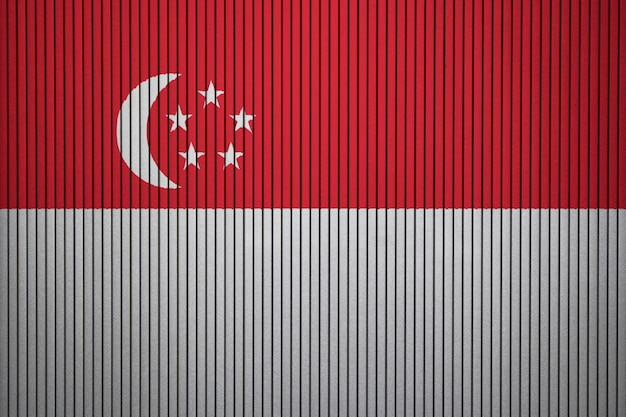 Bandera nacional pintada de singapur en un muro de hormigón