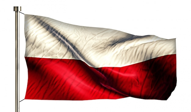 Bandera nacional de polonia aislado fondo blanco 3d