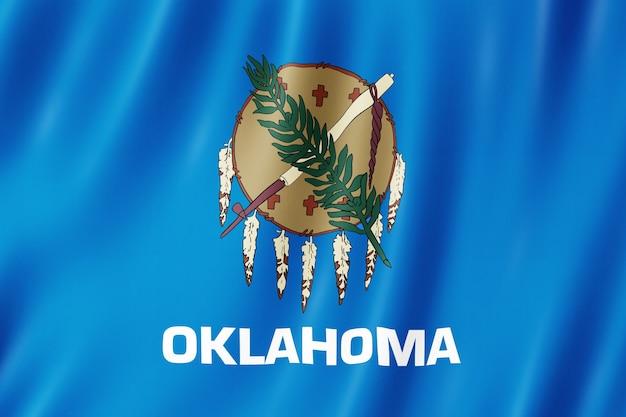Bandera de oklahoma, estados unidos. ilustración 3d de la ondulación de la bandera de oklahoma.