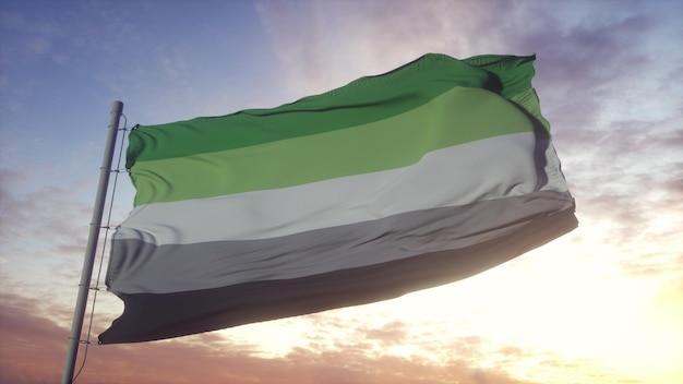 Bandera de orgullo aromático ondeando en el fondo del viento, el cielo y el sol. representación 3d.