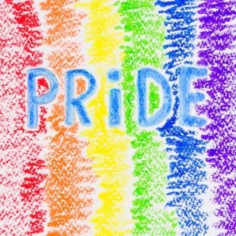 Bandera del orgullo colorida pintada con lápices de colores