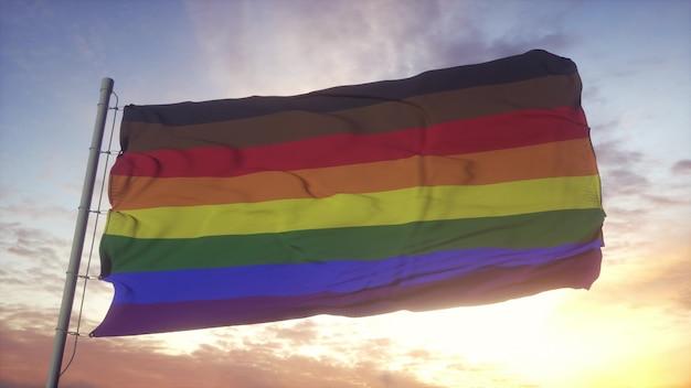 Bandera del orgullo de filadelfia ondeando en el fondo del viento, el cielo y el sol. representación 3d.