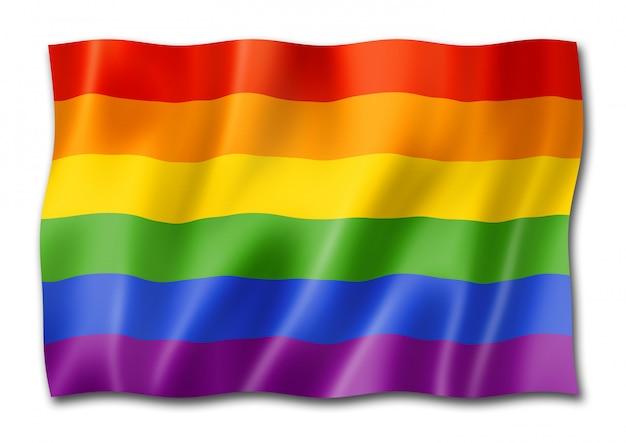 Bandera del orgullo gay del arco iris aislada en blanco