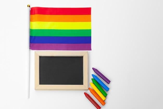 Bandera del orgullo gay, de cerca