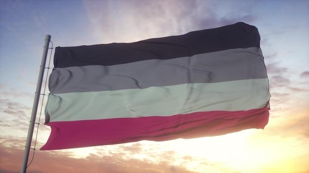 Bandera del orgullo de ginefilia ondeando en el fondo del viento, el cielo y el sol. representación 3d.