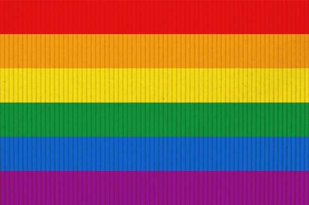 Bandera de orgullo lgbt o bandera de orgullo del arco iris sobre cartón corrugado