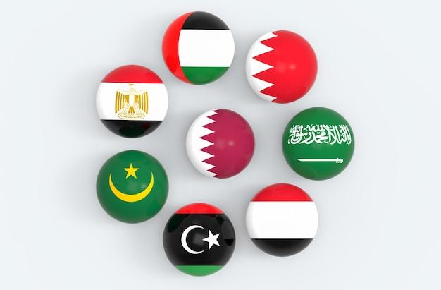 Bandera de país de qatar rodeada por algunas bolas de esfera de banderas de país de oriente medio.