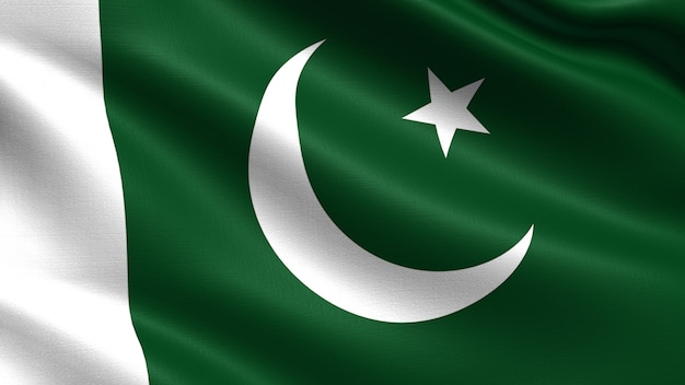Bandera de pakistán, con textura de tela ondeando.