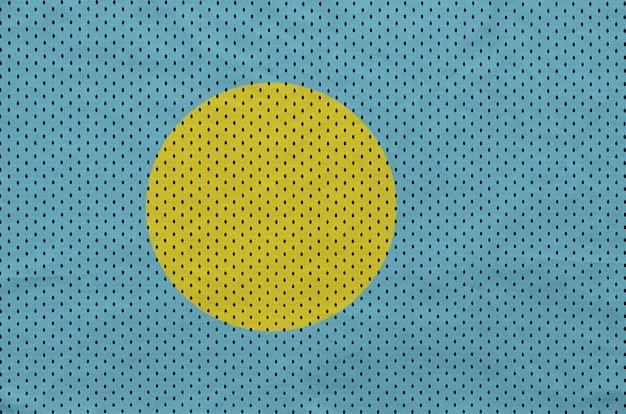 Bandera de palau impresa en una tela de malla de poliéster deportiva de nylon
