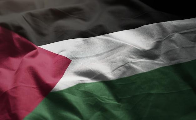 Bandera de palestina arrugada de cerca