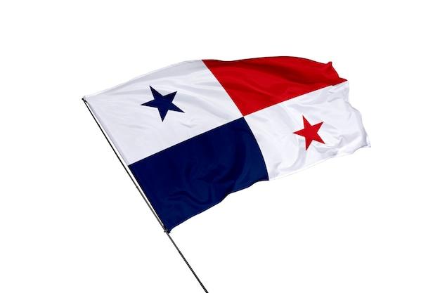 Bandera de panamá sobre un fondo blanco.