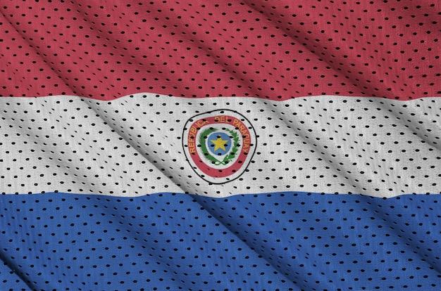 Bandera de paraguay impresa en una tela de malla deportiva de nylon y poliéster