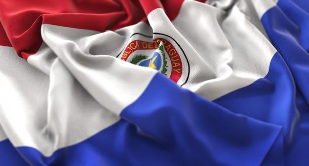 Bandera de paraguay ruffled bellamente agitando macro foto de primer plano