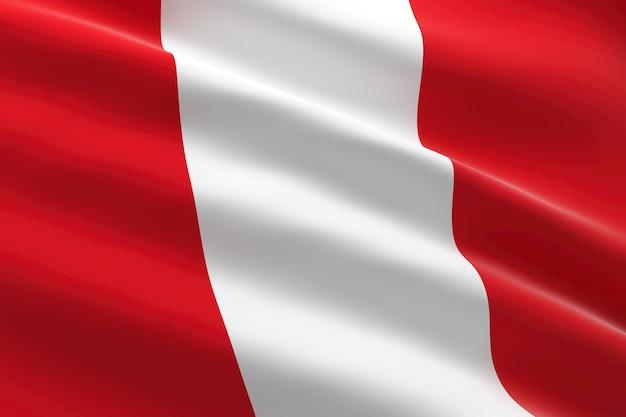 Bandera de perú. ilustración 3d de la bandera peruana ondeando