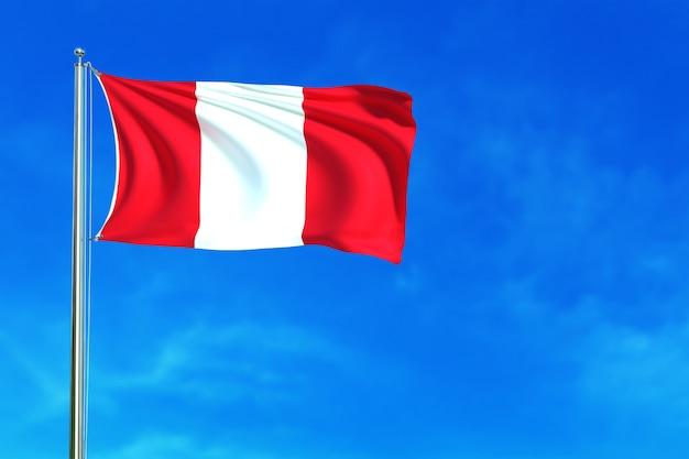 Bandera de perú en la representación 3d del fondo del cielo azul