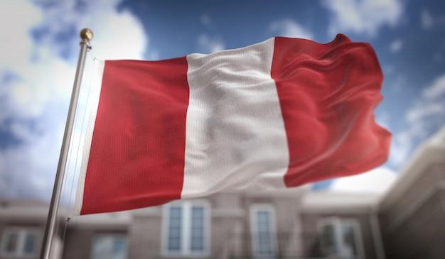 Bandera de perú representación 3d sobre fondo de construcción de cielo azul
