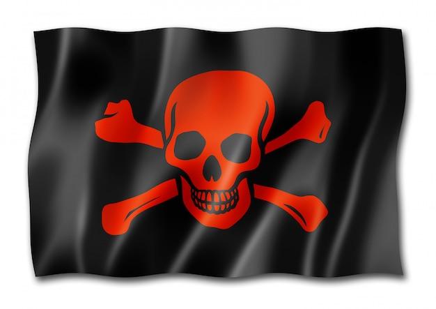 Bandera pirata, jolly roger, aislado en blanco