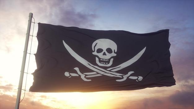 Bandera pirata realista ondeando en el fondo del viento, el cielo y el sol. representación 3d.
