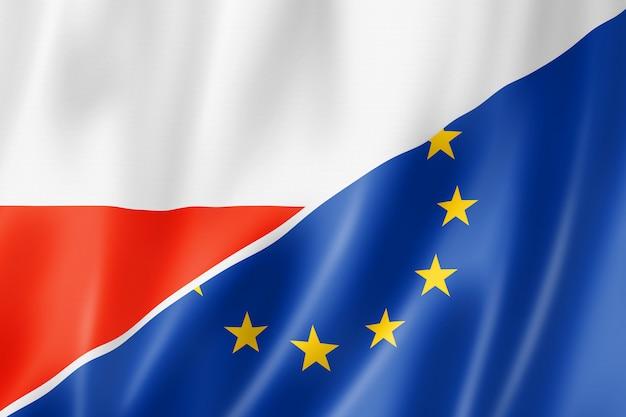 Bandera de polonia y europa